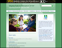 Virginia Autism Resource Center website screenshot