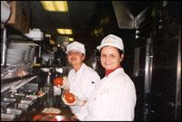 Employees preparing foods